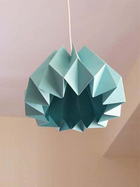 Pumpkin / Origami Paper Lamp Shade Turquoise van TwReborn1 op Etsy