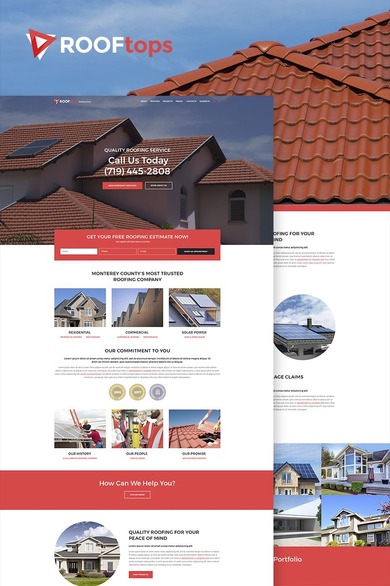 Rooftops Roofing Service Wordpress Template Roofing Services Wordpress Theme Wordpress Website Design