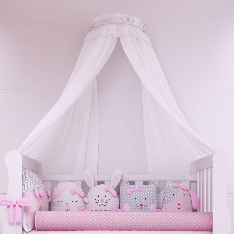 a4a8b6ac5ec52 O Mosquiteiro Dossel com Suporte Voil Branco fica lindo no Quarto de Bebê  Amiguinhas! Esse dossel para quarto de bebê é um luxo!