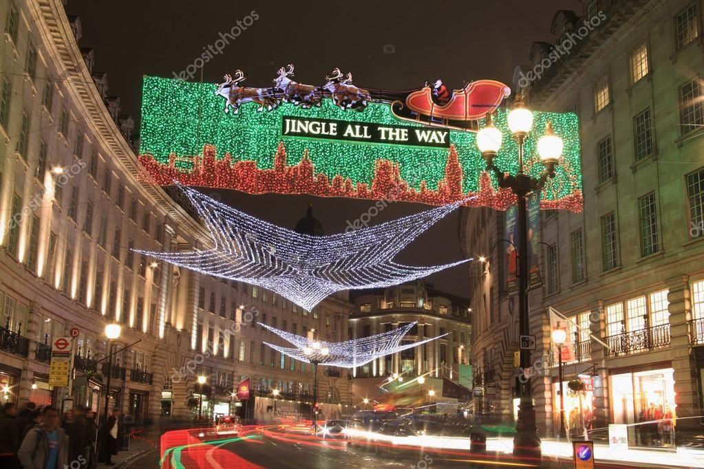 Christmas lights display along regent street stock photo