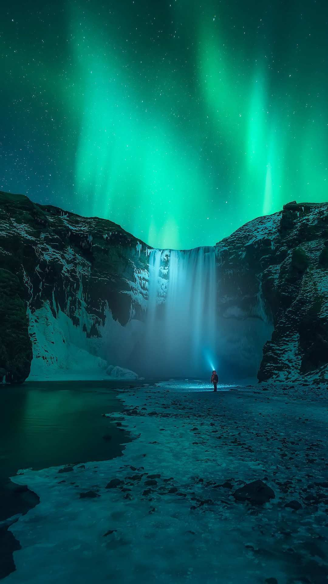 Iceland Waterfall Aurora in Sky iPhone Wallpaper iPhone