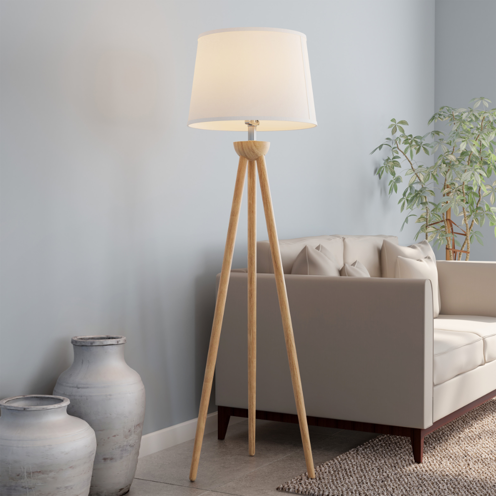 Tripod Modern Floor Lamp Led Bulb Natural Oak Wood With White Shade By Lavish Home Walmart Com In 2020 Modern Floor Lamps Oak Tripod Floor Lamp Floor Lamps Living Room