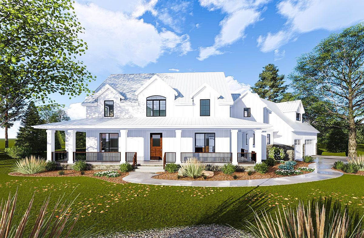 Modern Farmhouse with Angled 3 Car Garage