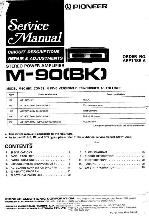 Pioneer M90 Power Amplifier , Original Service Manual