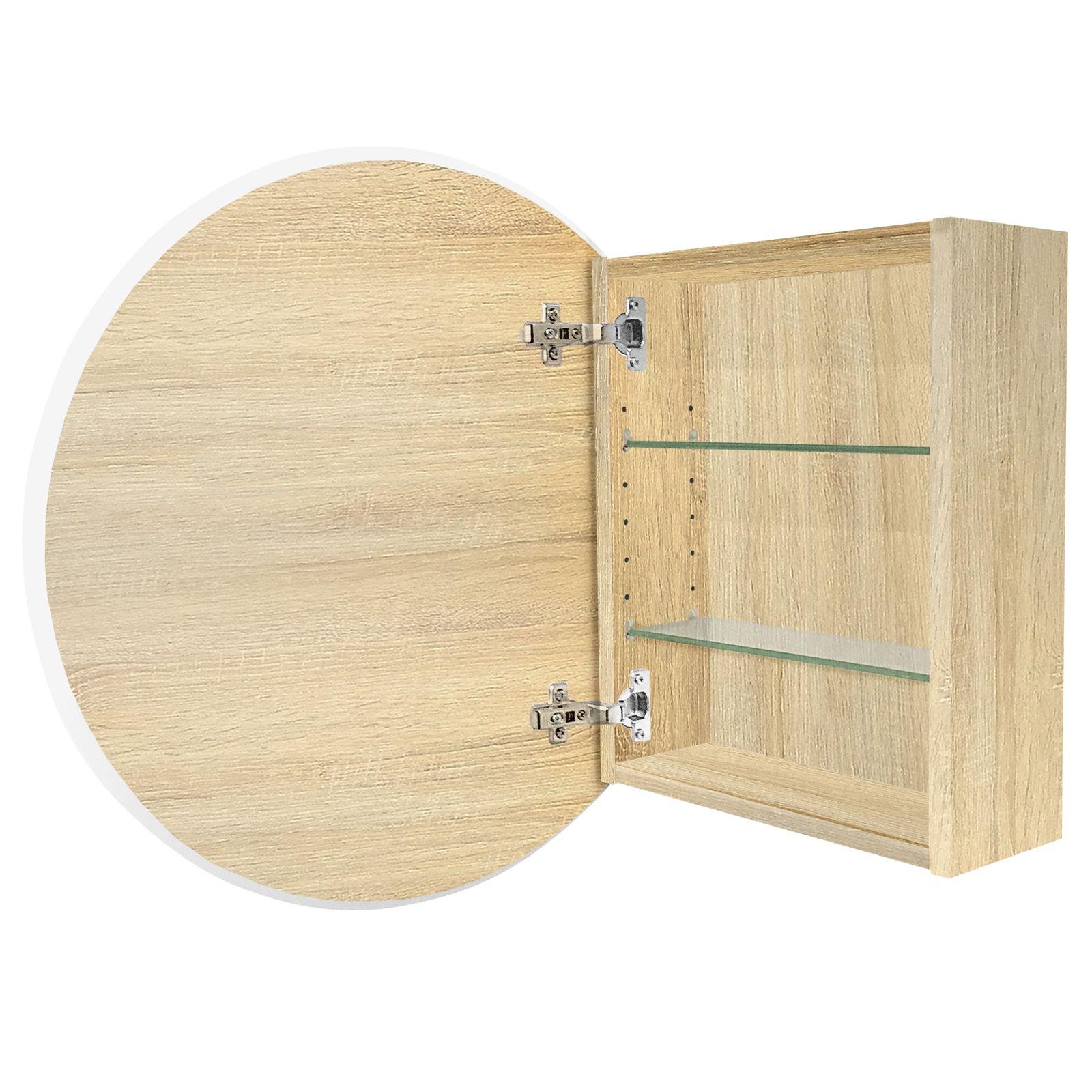 Cibo Design 600mm Coast Veneer Circle Mirror Cabinet | Mirror ...
