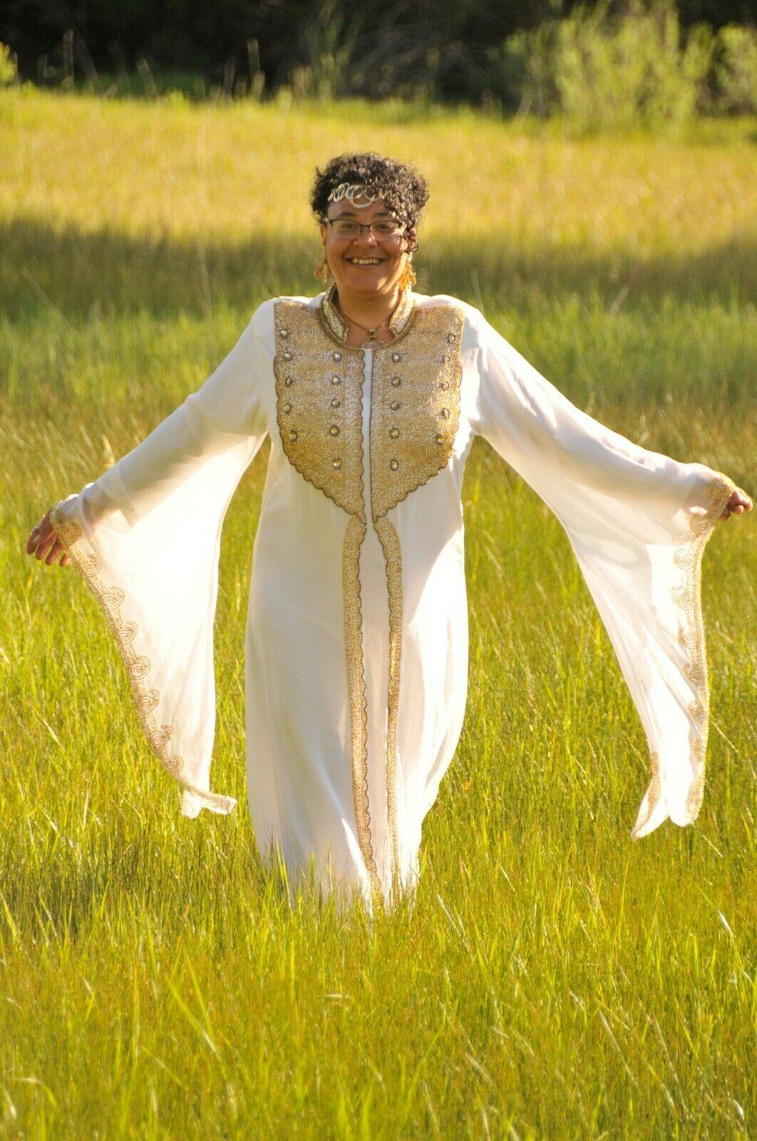 Handbeaded High Holy Day Kaftan Long Dress Wing Sleve X Large White Gold Long Dress Dresses Special Dresses