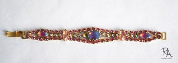 Vintage 1950s Bracelet / 50s Pink Rhinestone by RetroActiveNOLA, $49.00