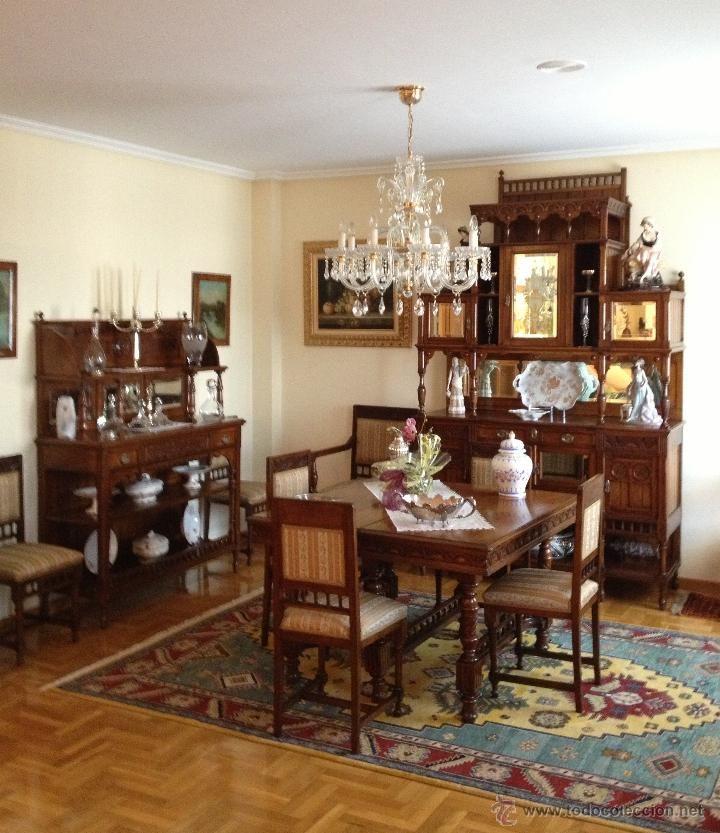 Conjunto muebles comedor madera cerezo principios siglo for Muebles de comedor antiguos