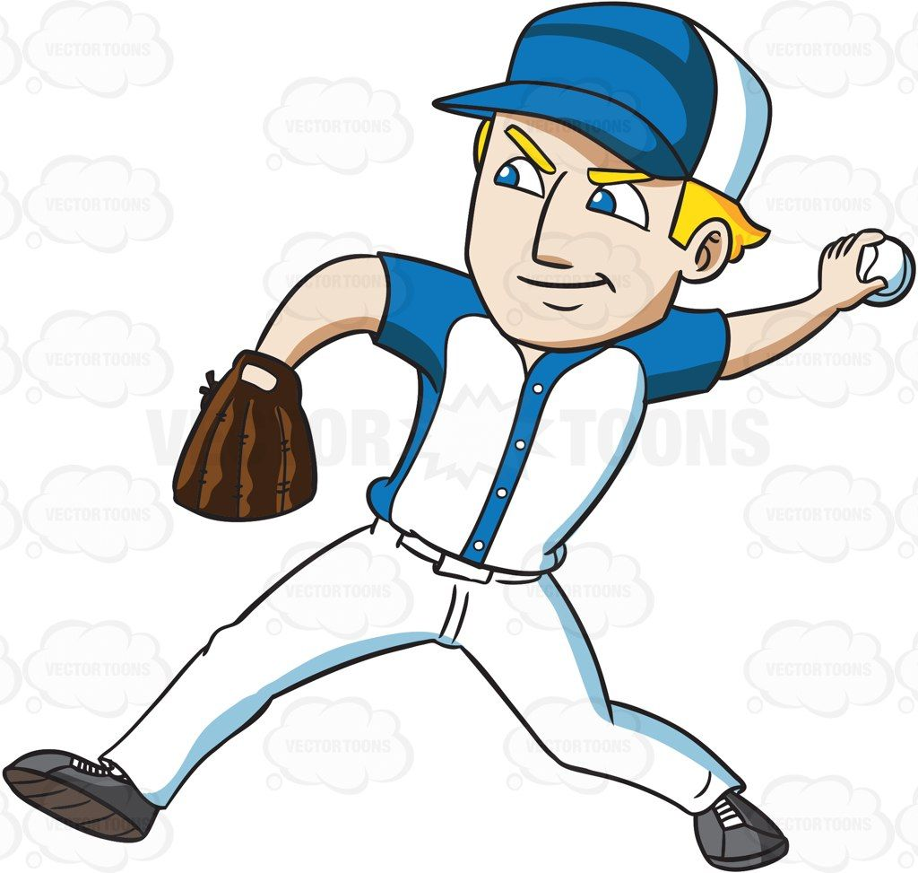 A Baseball Player Throwing A Ball Vector Graphics Vectortoons Com Baseball Players Baseball Sticker Baseball