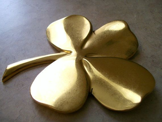 Four Leaf Clover Brass Clover With Inscription On Back