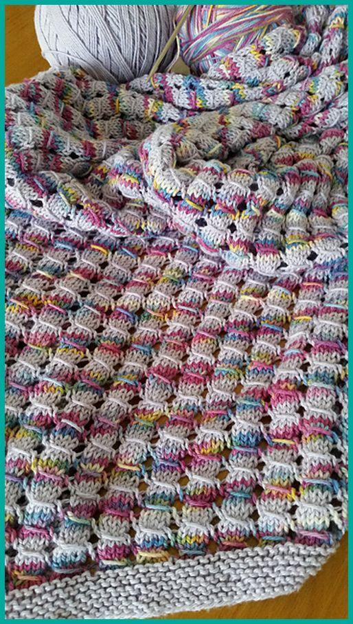 Waffle Blanket - Free Pattern in 2020 | Knit stitch ...