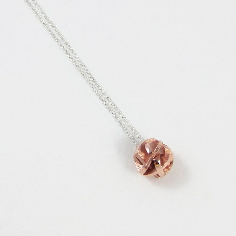 e01c033be5b99 Geometric 3D printed rose gold ball pendant on a sterling silver ...