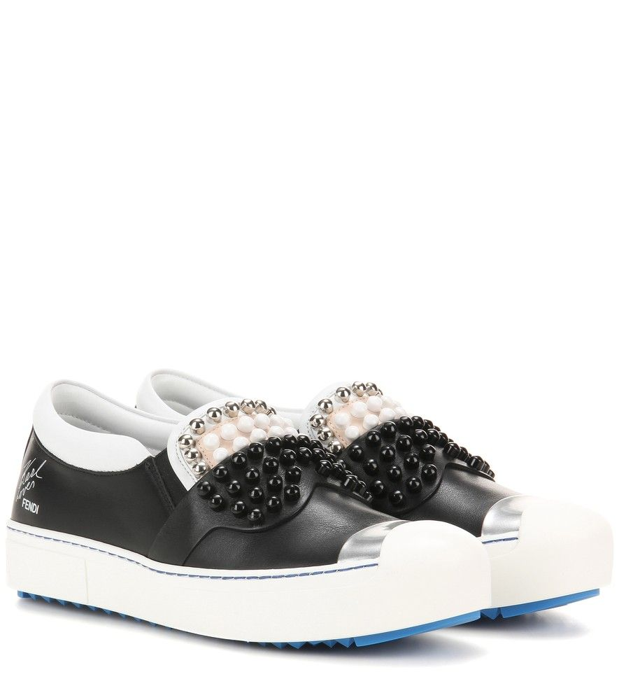 Embellished slip-on leather sneakers
