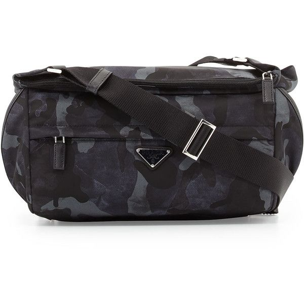 Prada Camo Nylon Medium  Messenger Bag (1,340 CAD) ❤ liked on Polyvore featuring men's fashion, men's bags, men's messenger bags, blue, mens messenger bag and mens courier bag
