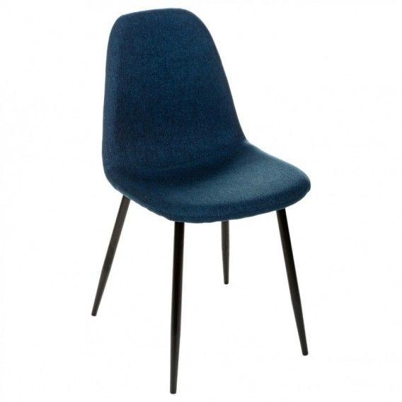 chaise design scandinave bleu marine pieds mtal noir nokas l45cm - Chaise Scandinave Pied Metal