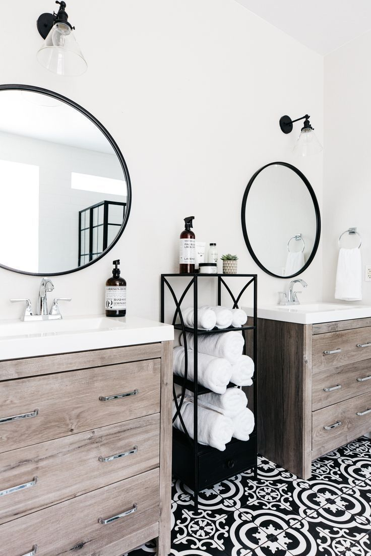 Stunning Black And White Bathroom With Natural Wood Vanity