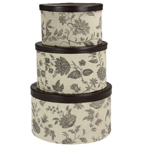 Found It At Wayfair   3 Piece Hat Box Set With Faux Leather Lids
