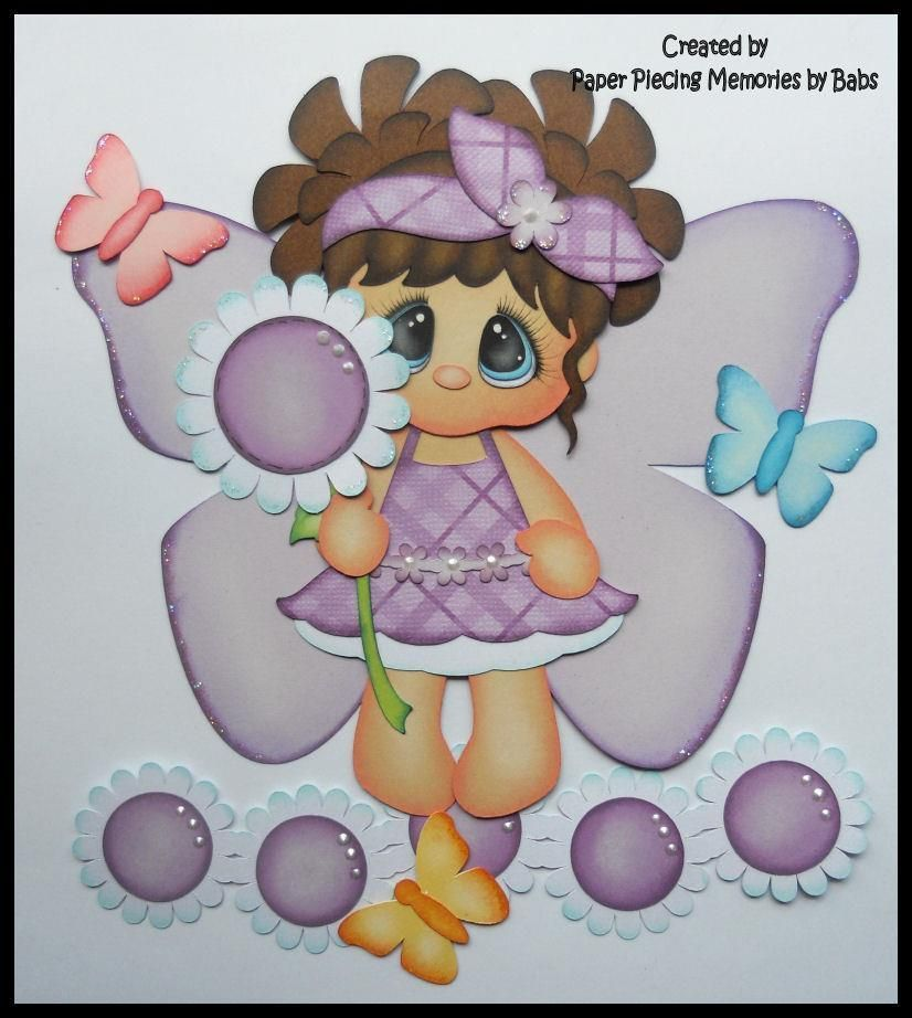 Butterfly Girl Dark Hair Premade Paper Piecing for Scrapbook Pages ...