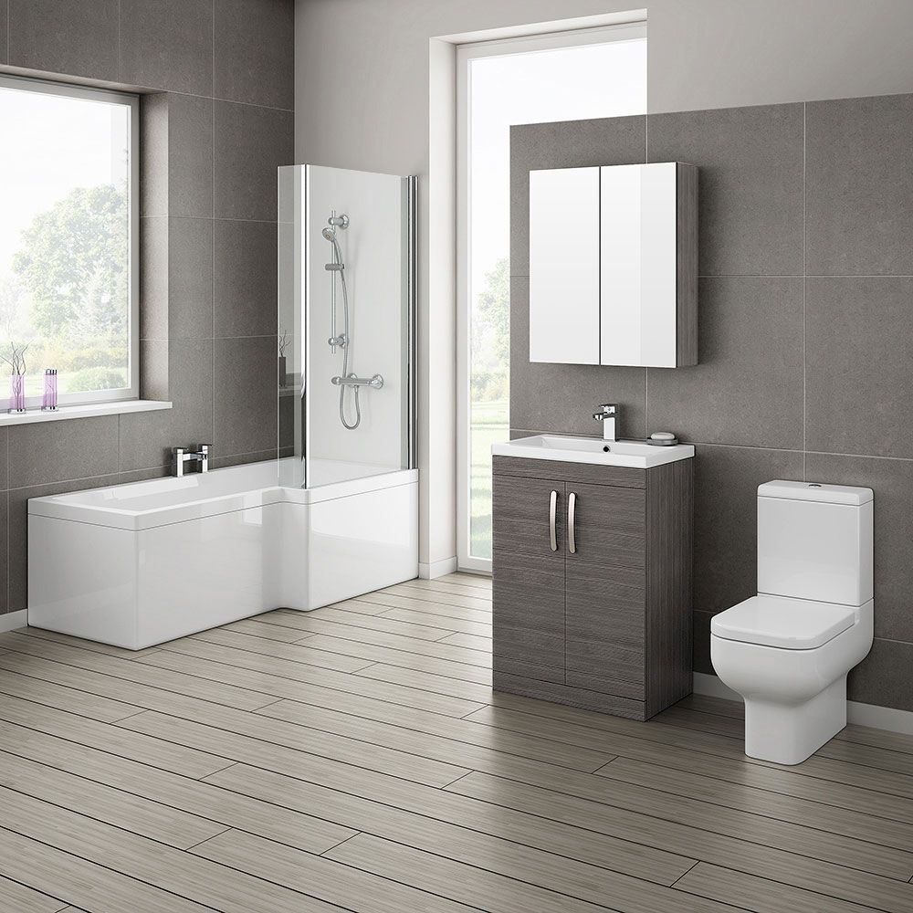 Charming Ultra Modern Bathroom Black And White | Brooklyn Grey Avola Bathroom Suite  With L Shaped Part 22