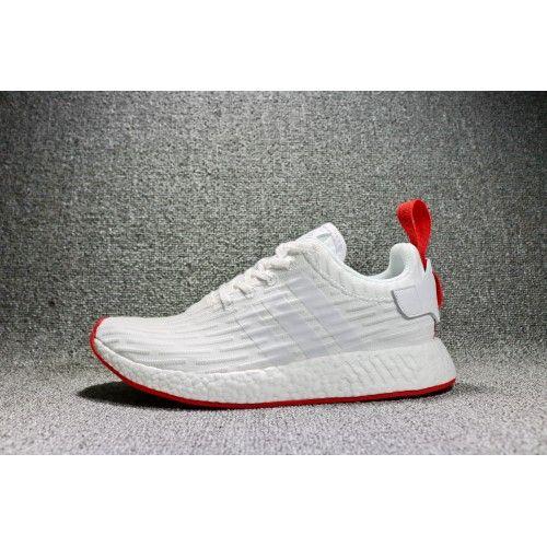 buy popular 62051 57502 De Nye Adidas NMD R2 Primeknit Sko Hvid Core Rød Sneakers Udsalg