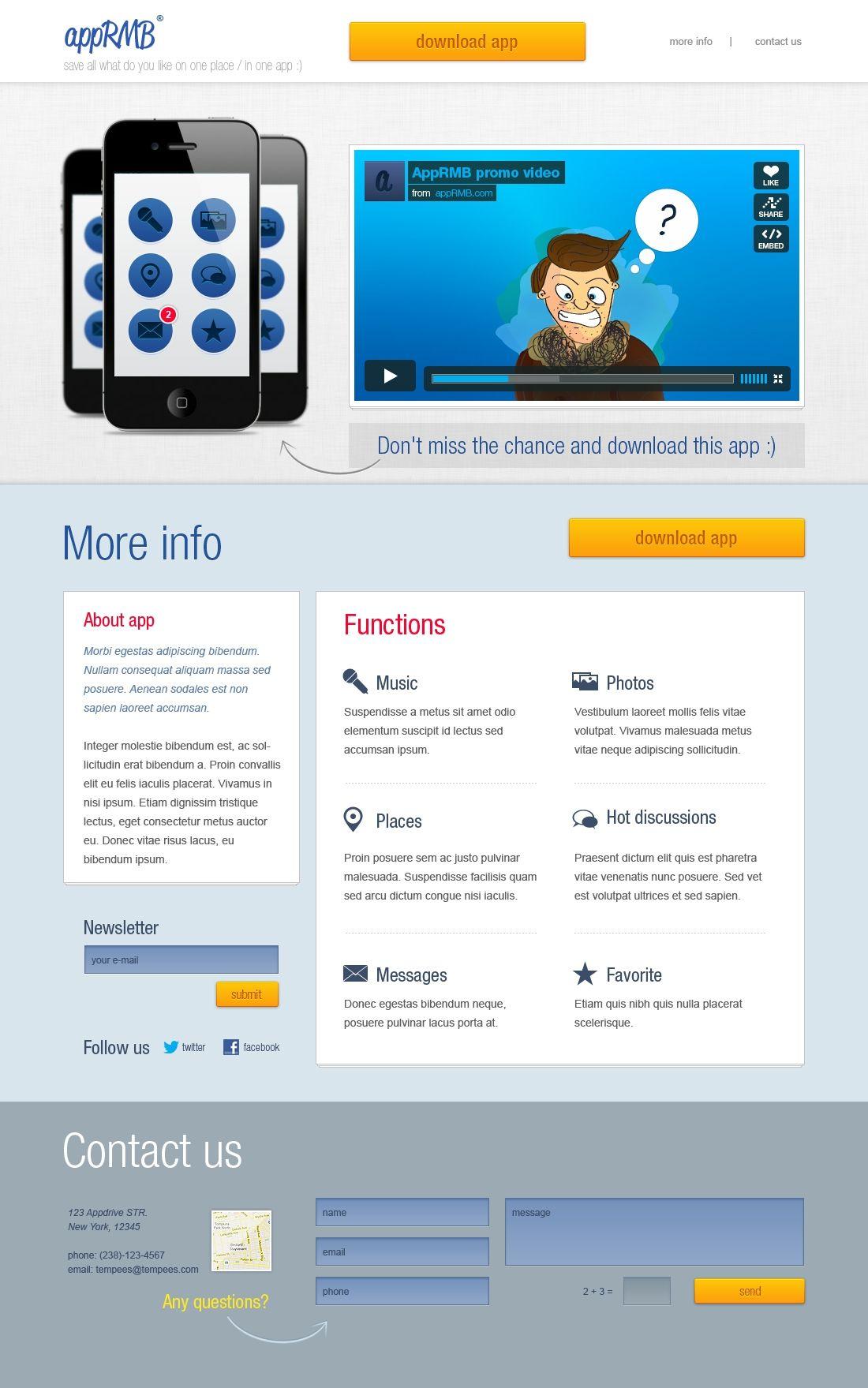 app landing page psd free psd templates pinterest app