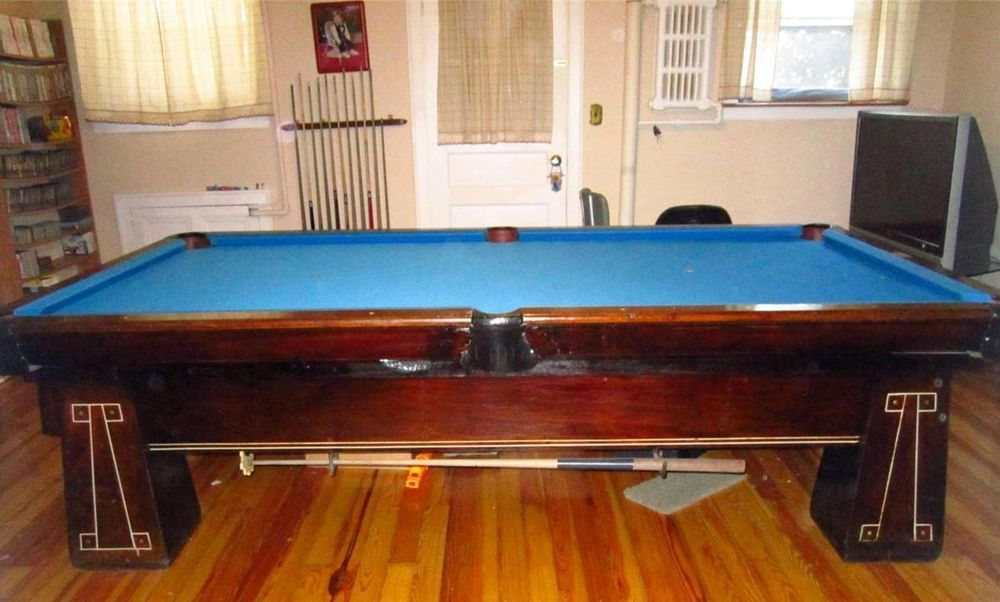VINTAGE WOODEN ANTIQUE M. GINZBURG U0026 SONS POOL TABLE WITH PING PONG COVER  NO RES