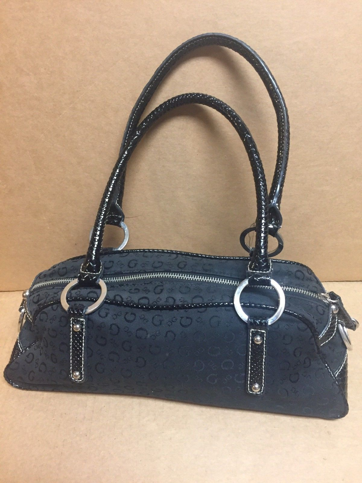 Sassy Black Guess Canvas Patent Leather Monogram Purse Handbag Nice 14 99