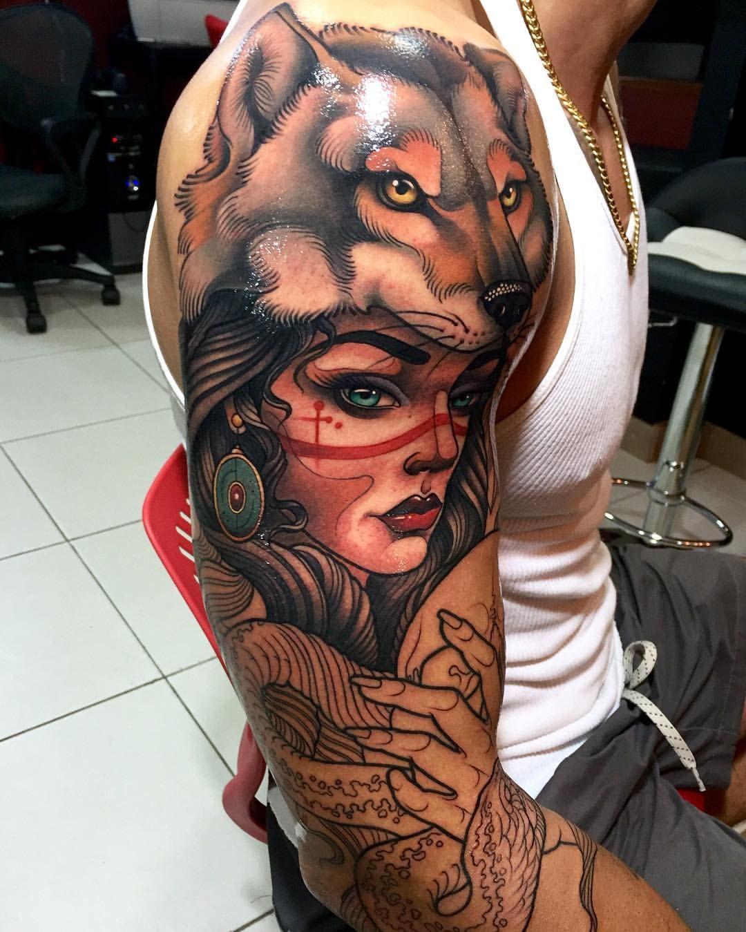 "Wolf Headdress Tattoo: ⚓JAVIER FRANCO En Instagram: ""1ra Sesión #gypsy"