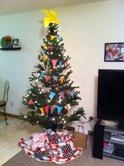 Christmas tree decorating on a budget! Homemade flag garland with a