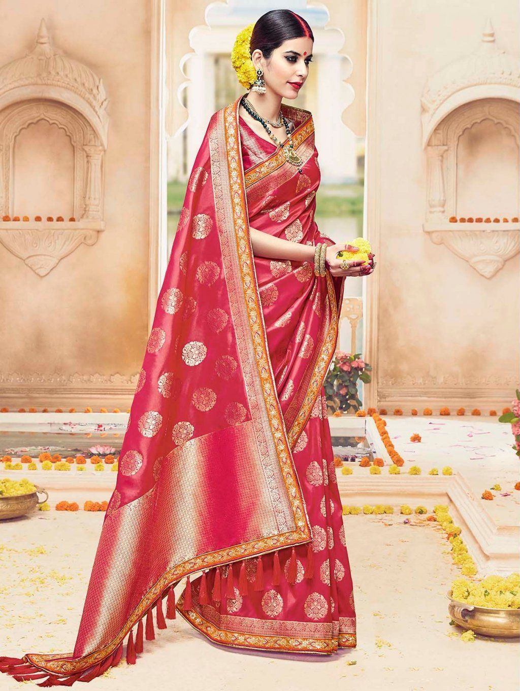 Silk saree lehenga red kanjivaram silk saree with embroidery work  fem gallery