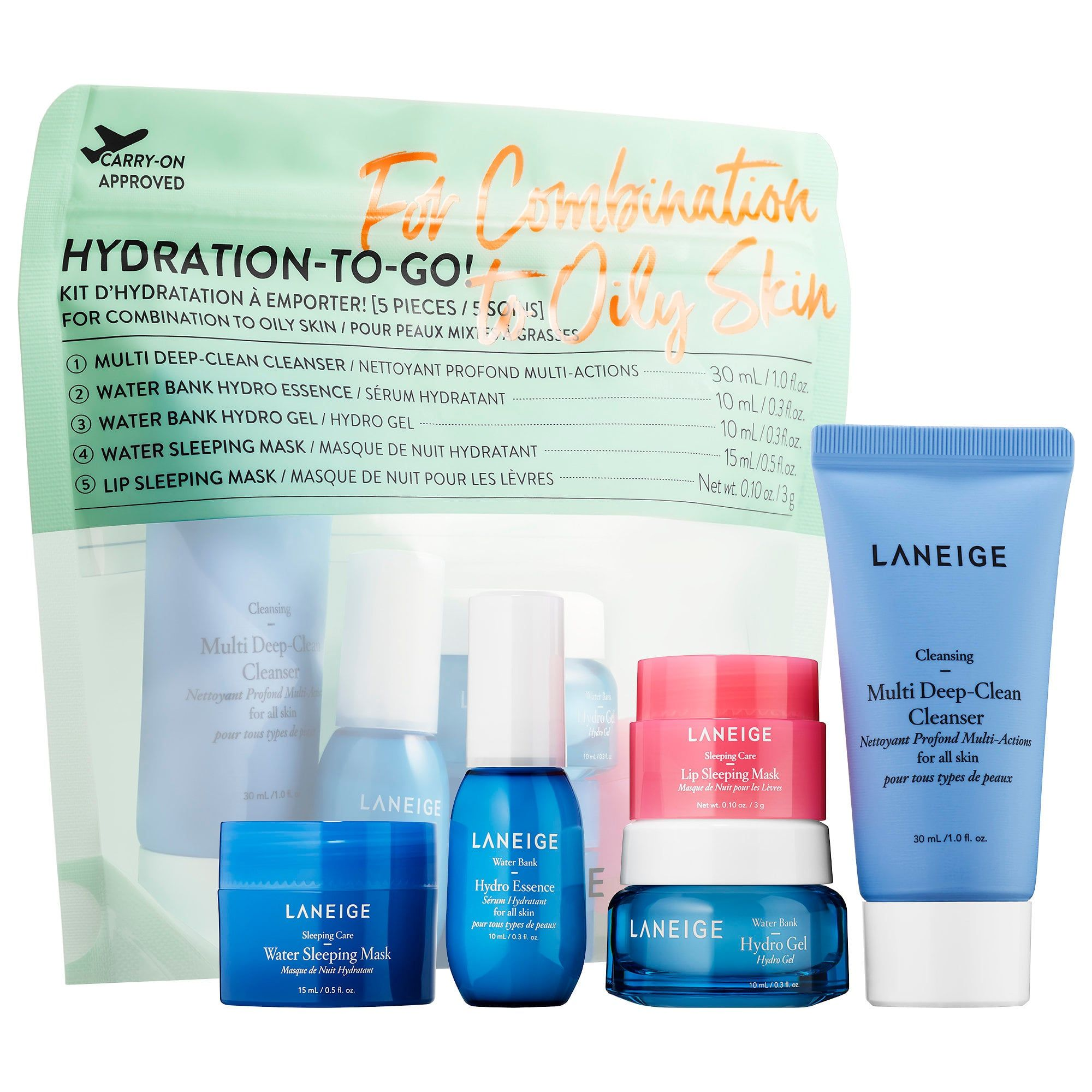 Laneige Hydration To Go Combination To Oily Skin In 2020 Oily Skin Oily Skin Care Improve Skin Complexion