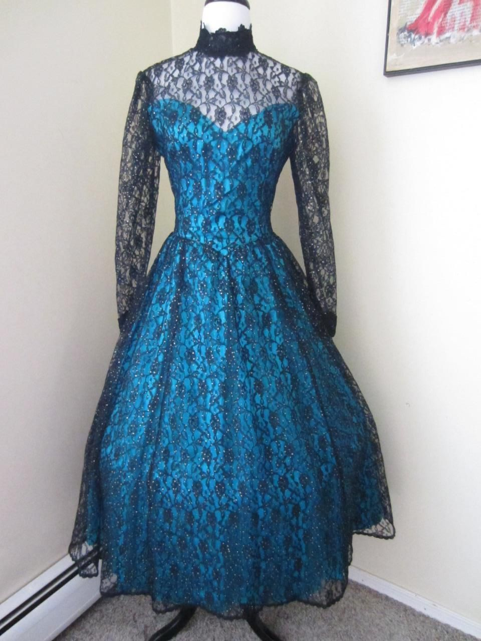 Vintage GUNNE SAX Black Lace & Blue Satin Prom Party Dress 1980\'s ...