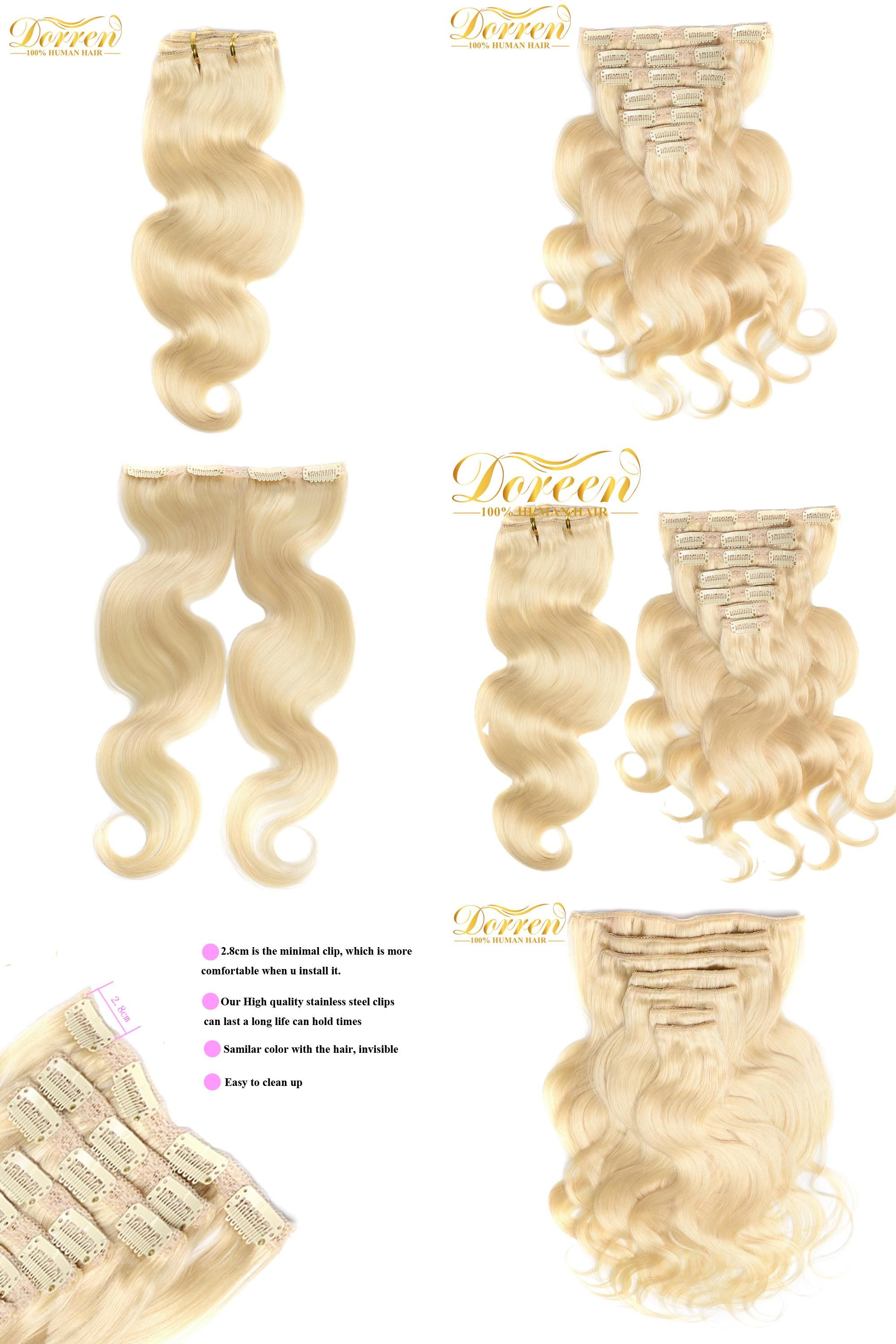 Visit To Buy Doreen Brazilian Remy Hair 60 White Blonde Clip In
