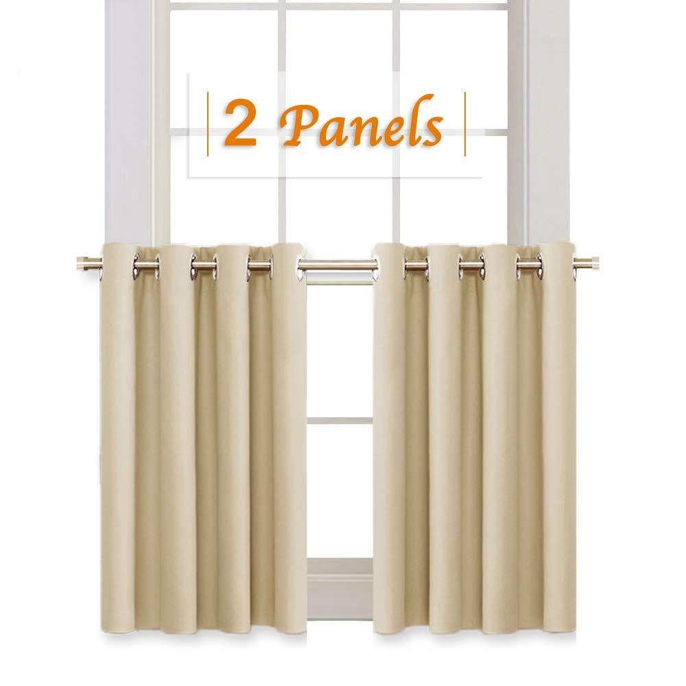 RYB HOME Room Darkening Curtain Tiers For Bedroom, Half