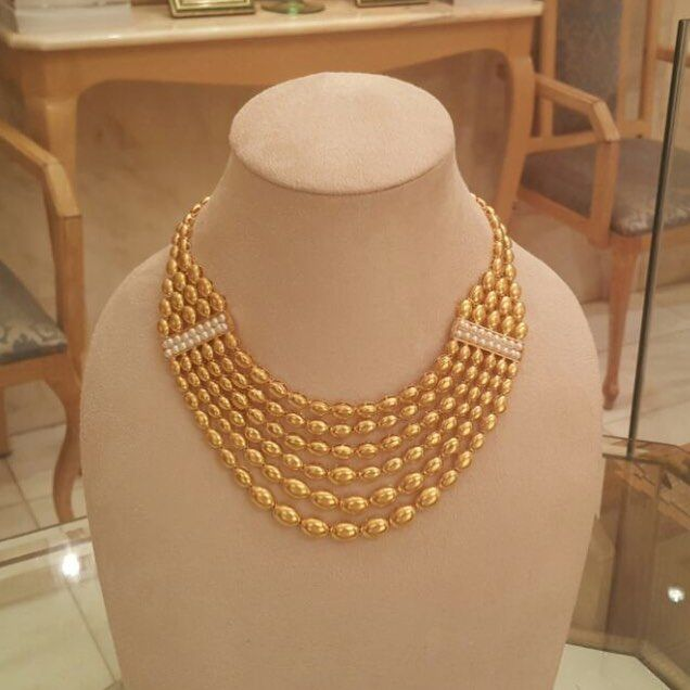Gold Necklace With Pearls المباركيه Gold Necklace Pearls Kuwait الكويت Handmade Jewellery Designer Alkhudairi Kjewe Chain Necklace Necklace Jewelry