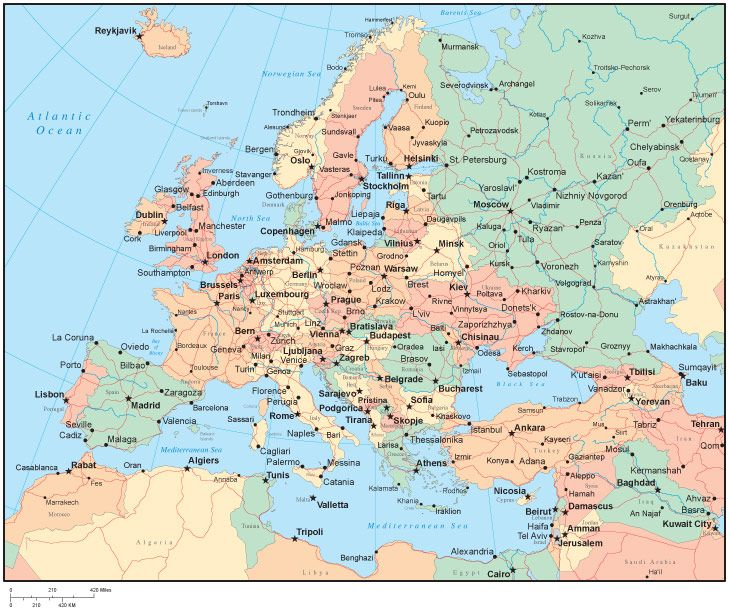 cool Map of europe countries and cities | Travelquaz | Pinterest