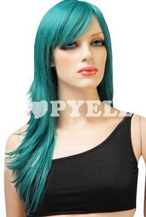 perruque #vert Les femmes vert de 60cm perruque