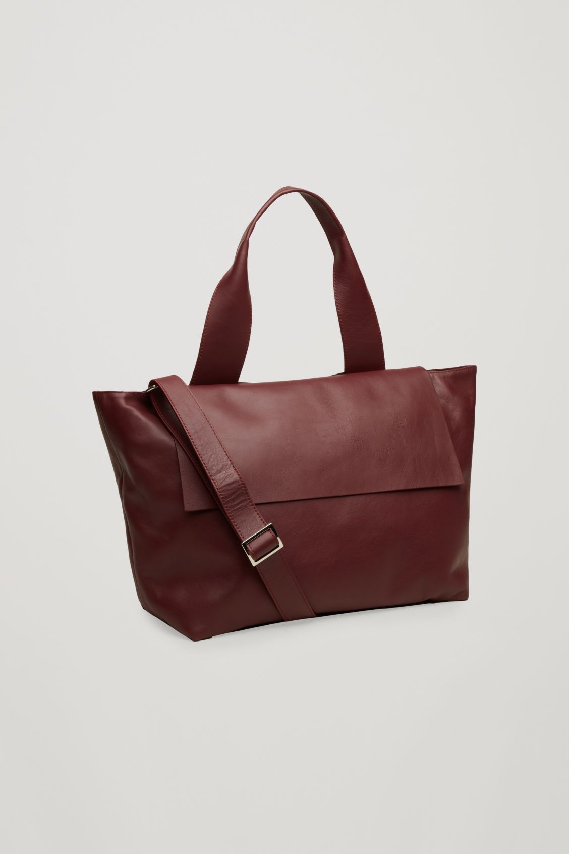 Side image of Cos leather tote bag with strap in purple  4f6e307a4fcf5