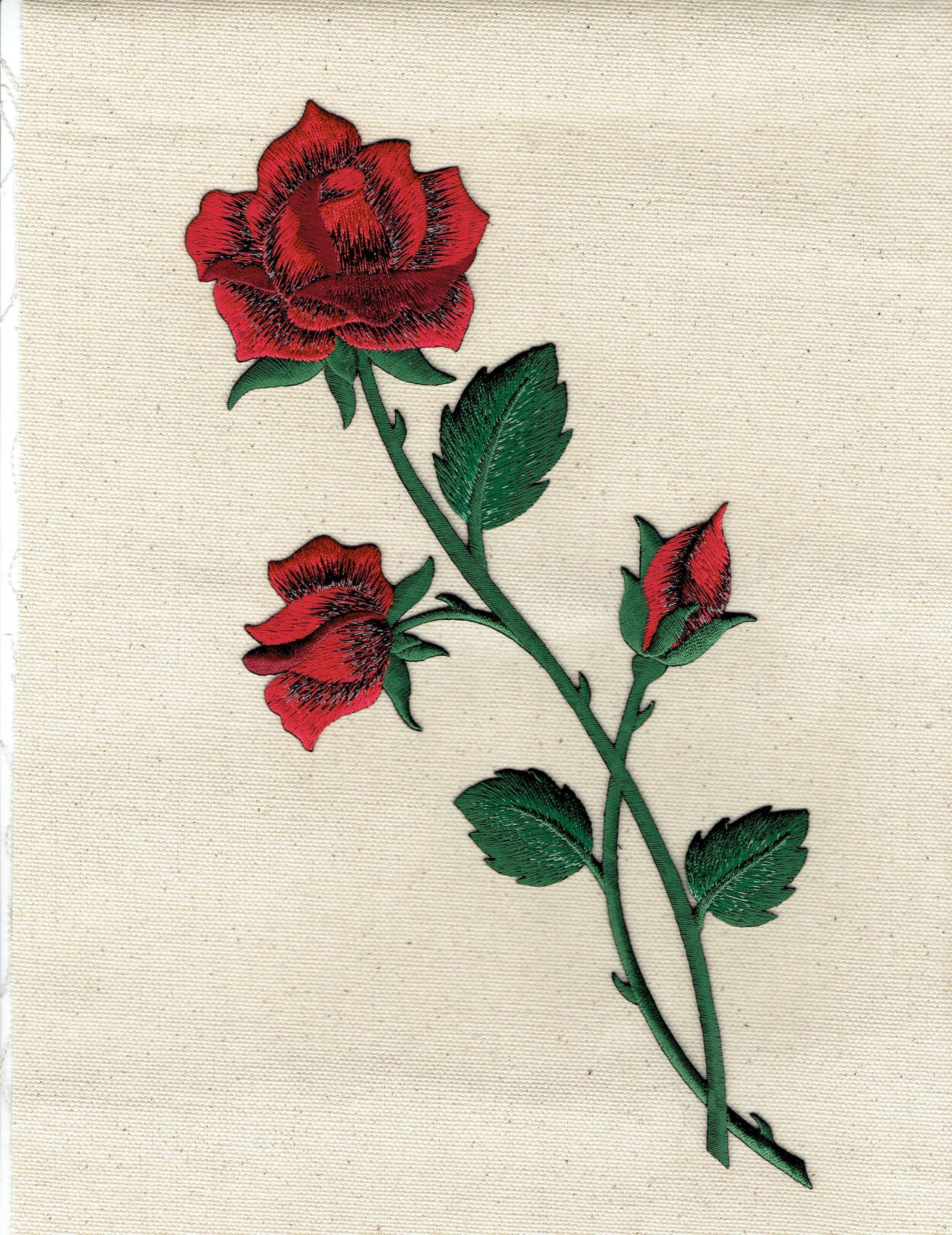 cee1a70416b00b Large - Red Rose - Open Petals on Long Stem - Flowers - Iron on Applique - Embroidered  Patch - 153108A
