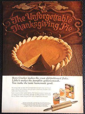 Vintage 1967 Betty Crocker Libby S Pumpkin Pie Magazine Ad Print Thanksgiving Ebay Libbys