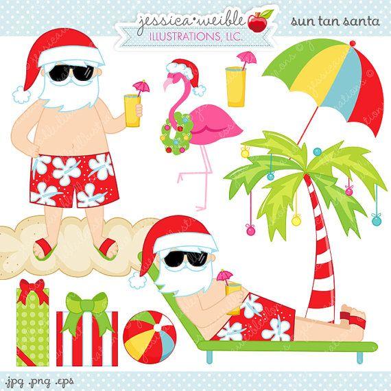 Commercial Christmas Decorations Florida: Sun Tan Santa Cute Digital Clipart