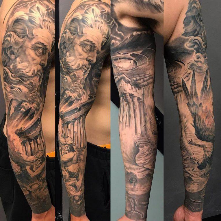 31+ Awesome Greek tattoo half sleeve ideas
