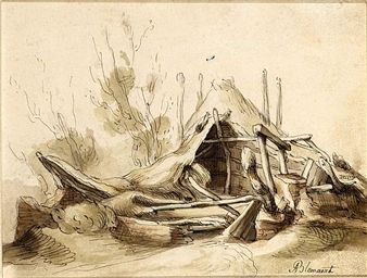 RECTO : RAMSHACKLE FARM BUILDINGS, WITH TREES BEHIND VERSO : A SKETCH OF A…