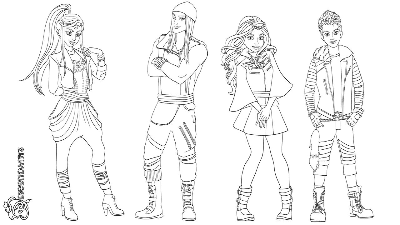 10++ Descendants coloring pages mal and evie ideas in 2021