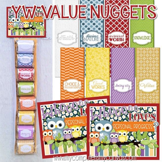 Whooooo LOVES Personal Progress?!! Printable YW Value Nuggets with tag. #mycomputerismycanvas