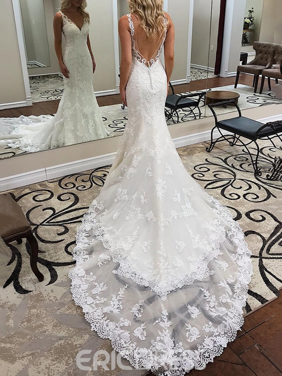 Ericdress Mermaid Button Backless Lace Wedding Dress Backless Lace Wedding Dress Wedding Dresses Bridal Dresses Lace [ 1200 x 900 Pixel ]