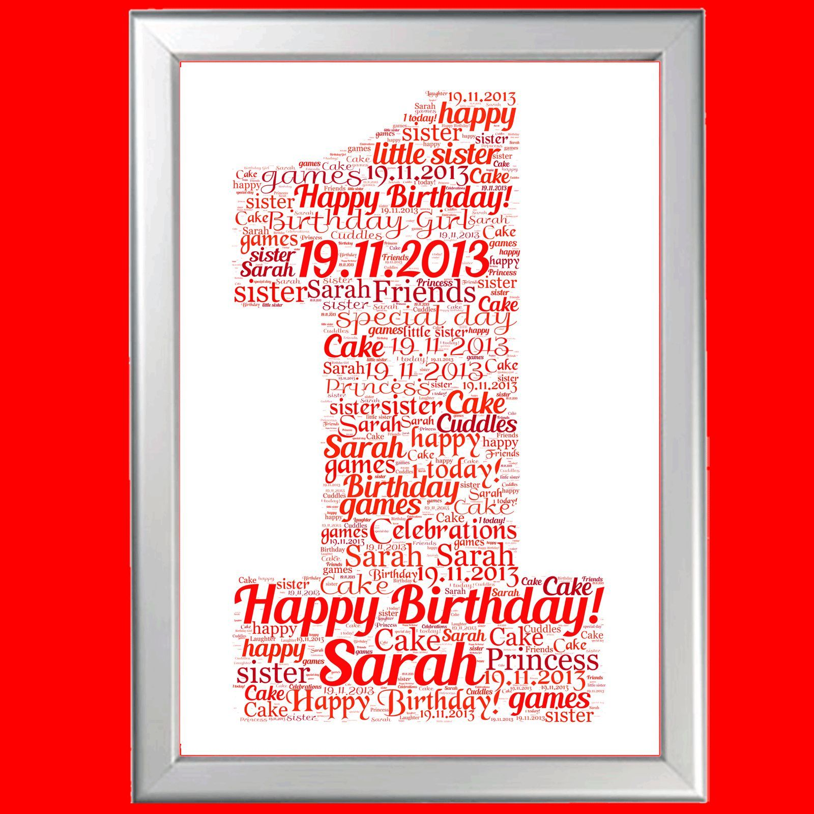 First Birthday Personalised Gift Word Art For Him Or Her Baby 1St 1 Boy Girl
