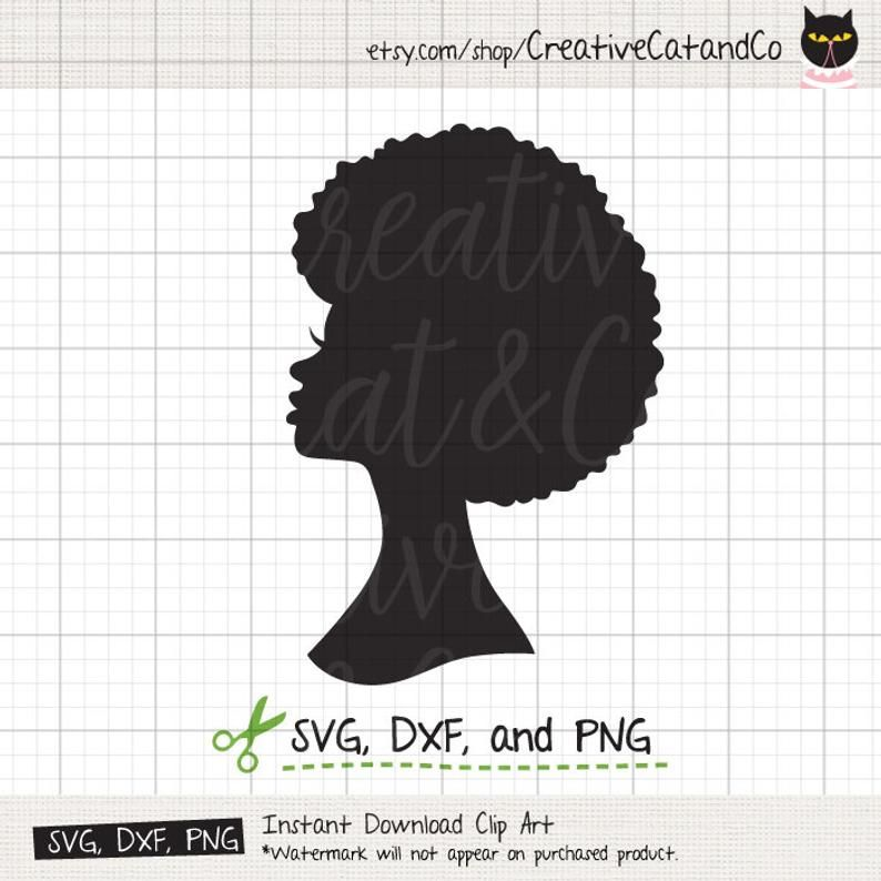 Afro Woman Svg Dxf African American Black Woman Lady With Afro Etsy Woman Face Silhouette Afro Hair Girl Black Woman Silhouette
