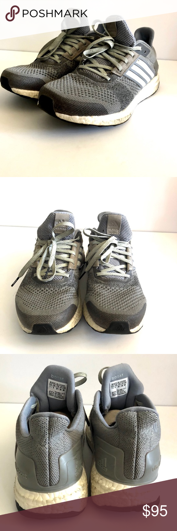 31d3eceb3922f Preowned women s Adidas Ultra Boost ST Gray sz 7.5 Used in good condition.  Sole is great and cushioned. Definite signs of wear. Every pair of shoes is  ...