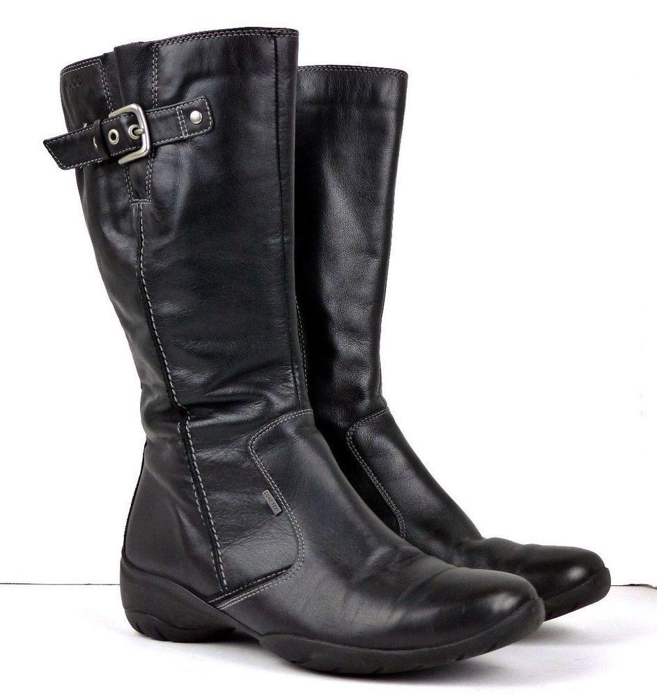 c0cd28198a5 ECCO Rise Gore-Tex GTX Womens 7 US 38 EU Mid Calf Zip Leather Boots ...